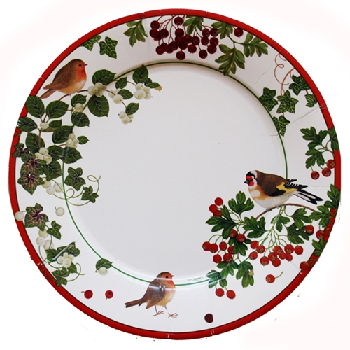 "Winter Birds Dinner Plate - 8 Pk - 10 1/2"" in Diameter"