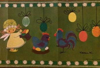 Karen K påskbonad hane og høne