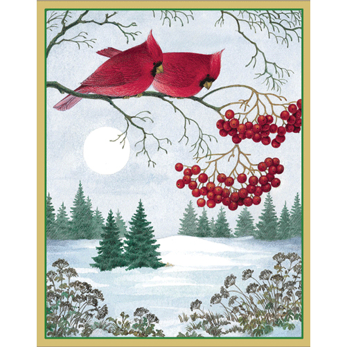 Caspari Boxed Christmas Cards - Cardinals On Branch