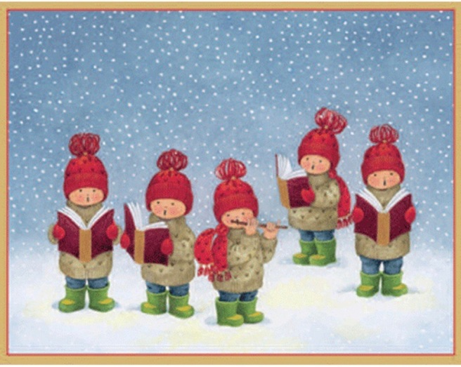 Five Carolers Christmas Card Box - A Size 16 In - 83034