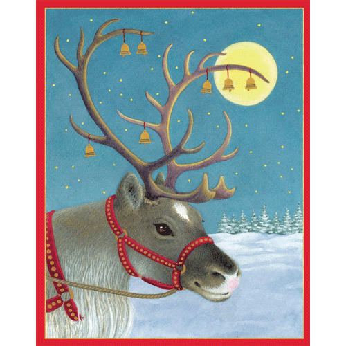 Caspari Christmas Cards - Reindeer Portrait - Boxed 16